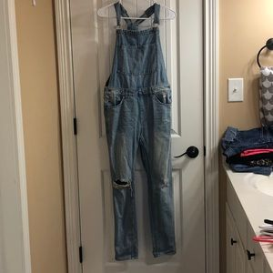 Ripped Pant Denim Overalls